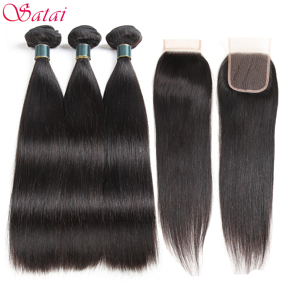 SATAI Straight Hair Human Hair Bundles with Closure Peruvian Hair 3 Bundles With Closure Natural Color