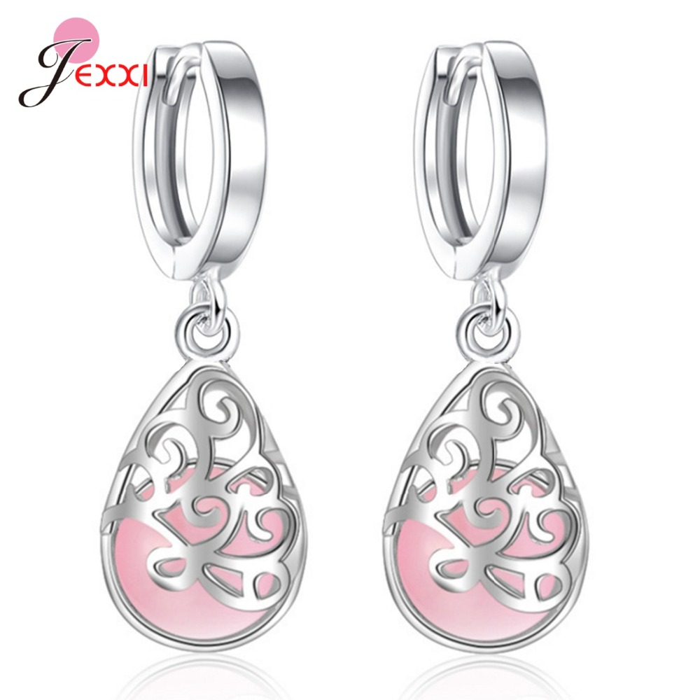 Exquisite Hollow Water Drop CZ Crystal Sweet With Woman Girls Best Festival Gift Genuine 925 Sterling Silver Earring