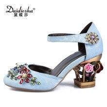 Daidiesha Vintage Velvet Women Flower Bird Cage Heel Pumps Original Leather  Shoes Stilettos Luxurious Crystal Party 898f799b1471