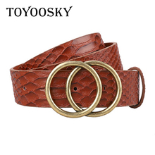 Women Men Belt Snake Pattern Round Buckle Faux Leather for Pants Jean Black Brown Pin Strap For Man