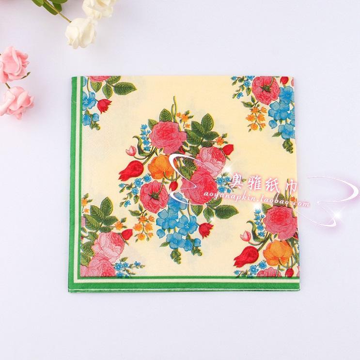 jj250food grade flower paper napkin rose festive party tissue napkins decoupage wedding - Decorative Paper Napkins