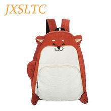 Women Larger Capacity Cute Dog Fox Ear Embroidery Corduroy Backpack Female Vintage Notebook Backpack for Girls School Travel Bag