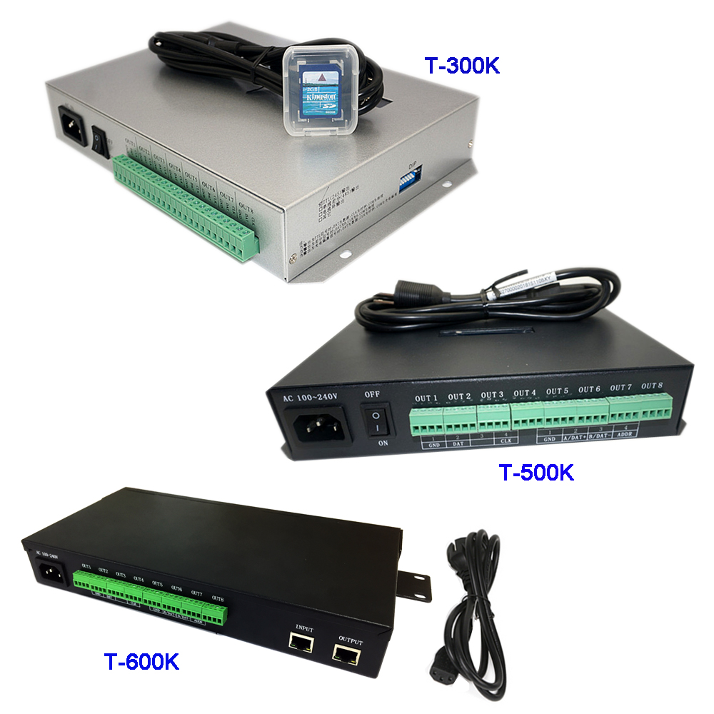 T500K Full Color Led Pixel Module Controller;T-300K SD Card Online T600K RGB RGBW 8ports Pixels Ws2811 Ws2801 Ws2812b Led Strip
