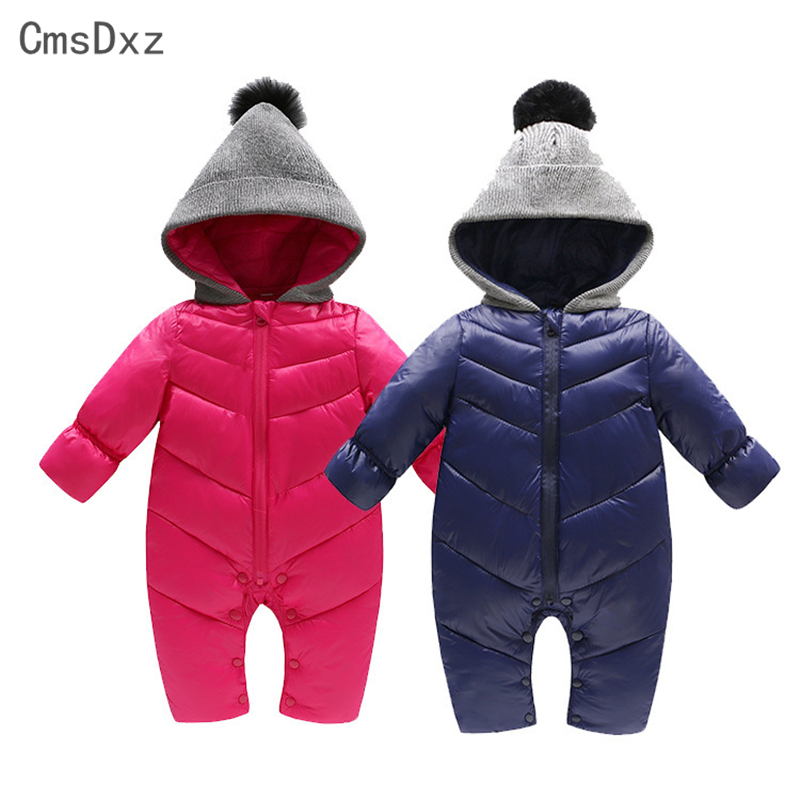 CmsDxz 0-18M Snow Wear Baby Clothes Cotton Baby Boys Girls Rompers Down Coats 2017 Winter Warm Jumpsuits & Outerwear Clothing cotton baby rompers set newborn clothes baby clothing boys girls cartoon jumpsuits long sleeve overalls coveralls autumn winter