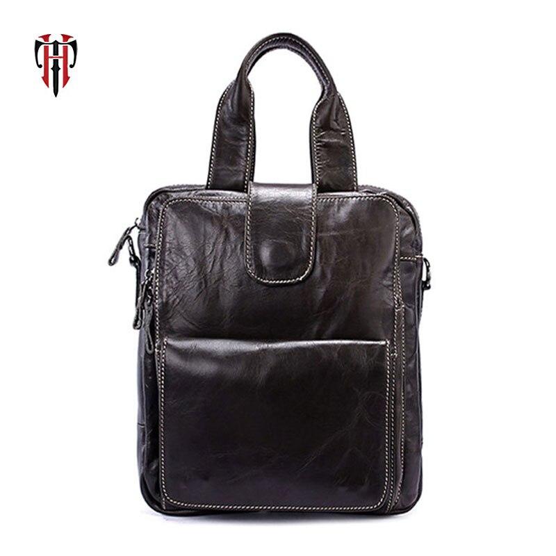 TIANHOO sac à main en cuir véritable marque poignée sacs décontracté bandoulière messenger sac pour hommes poches