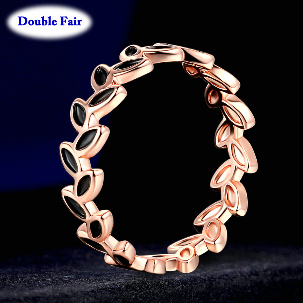 Fashion Jewelry Leaf-Rings Willow Engagement Rose-Gold-Color Girls Women Classic Party title=