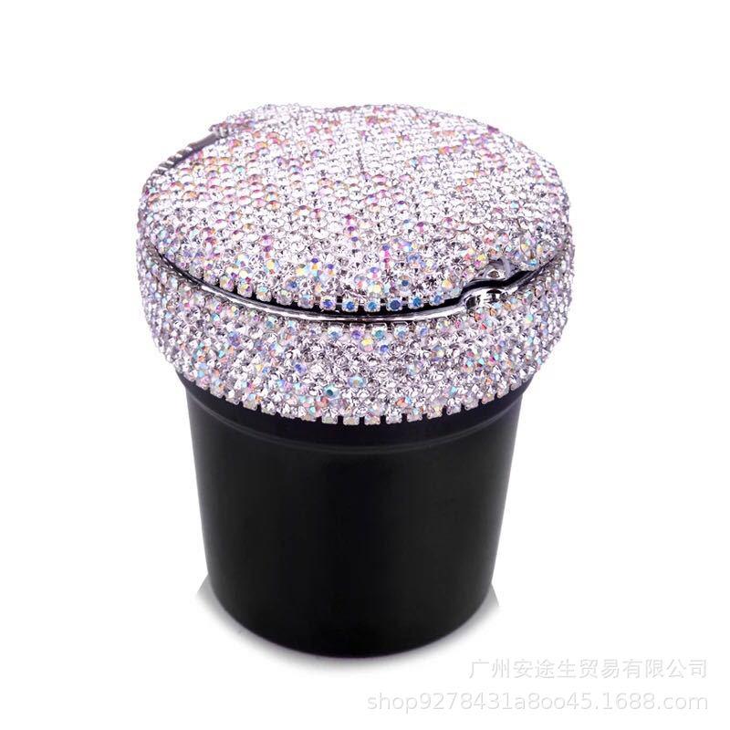 1pcRhinestones Portable Car Ashtray With Light Crystal Diamond Led Car Ash Tray Ashtray Storage Cup Holder Black For Girls Woman
