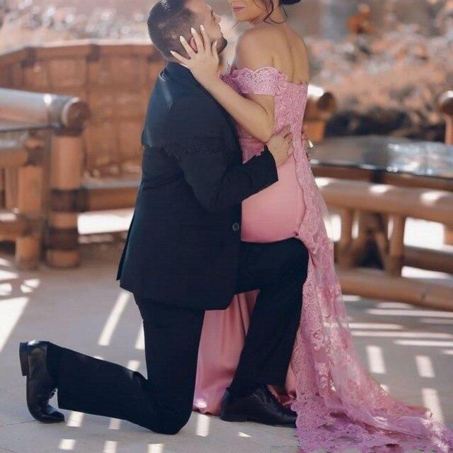Elegant Pink Muslim Evening Dresses 2019 Sweetheart Off Shoulder Lace Chiffon Islamic Dubai Saudi Arabic Long Evening Gowns 3