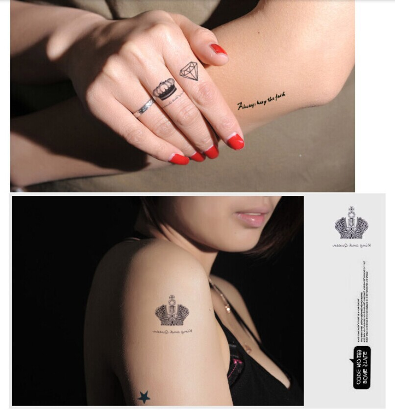 a892df39a 2014 new hot 10PCS tattoo sticker set for girl women cat Butterfly Diamond  letter crown star rose Temporary Tattoo stickers-in Temporary Tattoos from  Beauty ...