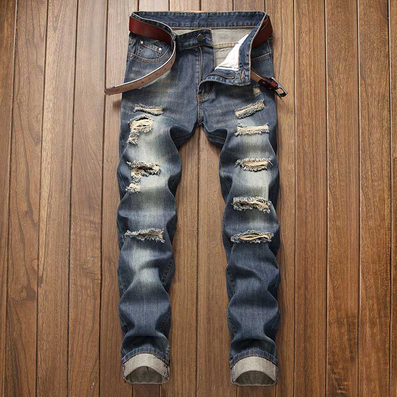 Mcikkny Men\`s Ripped Distressed Jeans Pants Washed Fashion Pleated Casual Denim Trousers Male Streetwear (9)