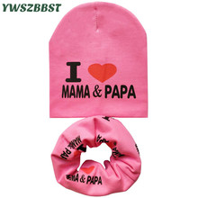 цены на 1PCS Cotton Knitted Baby Hat 2016 Fashion Spring Cute Warm Toddler Beanie Baby Caps Kids Girls Boys I Love Papa Mama Print Hats  в интернет-магазинах