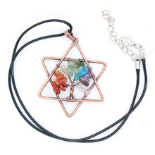 Kraft-beads Copper Colorful Stones Tree of Life Pendant with Rope Chain Necklace Star David Jewelry