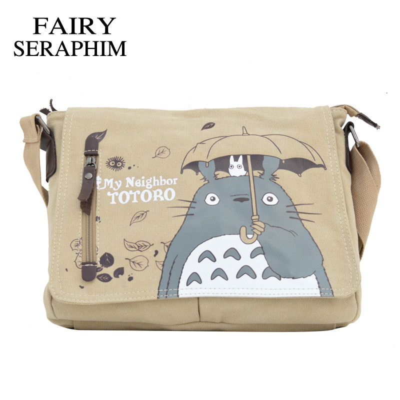 FAIRY SERAPHIM My Neighbor Totoro Messenger Canvas Bag Printing Shoulder Bag Teenagers Anime Cartoon Totoro Messenger Bag tonari no totoro my neighbor totoro kawaii anime cartoon peripherals wallet p009
