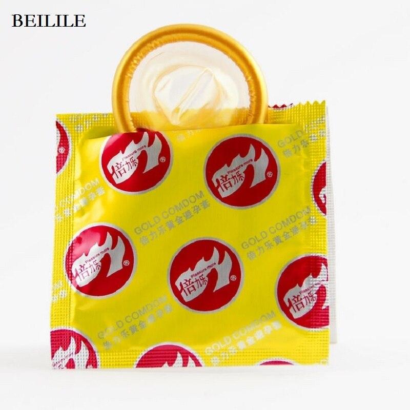 Beilile <font><b>Condom</b></font> Orginal USA Brand Adult Sex Products,<font><b>Golden</b></font> Natural Latex Rubber <font><b>Condoms</b></font> For Men,Penis Sex Toys 10pcs/lot=1box