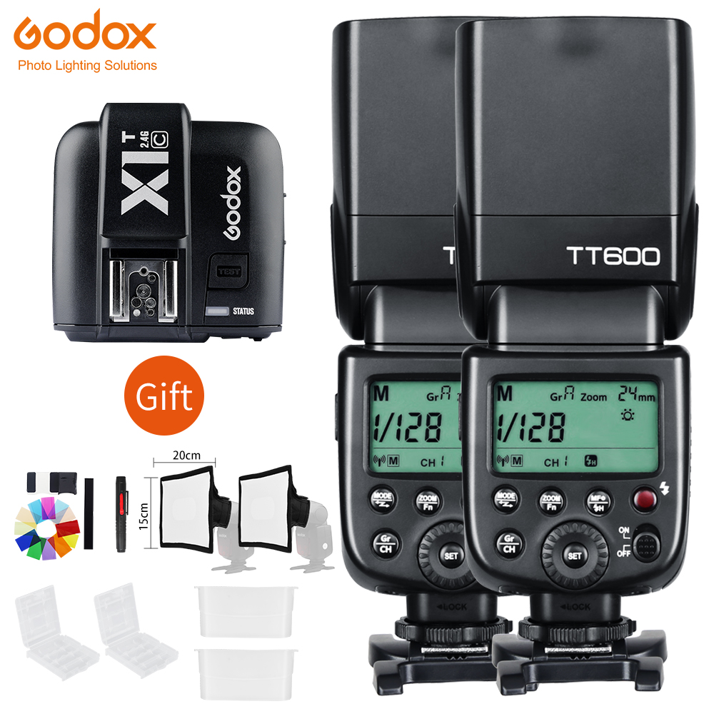 2x Godox TT600 2 4G Wireless Camera Flashes Speedlite With X1T N Transmitter for NikonD7500 D7200