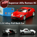 High simulation Cars,1:32 Alfa Romeo 8C sports car, pull back alloy car children toy car,free shipping high simulation