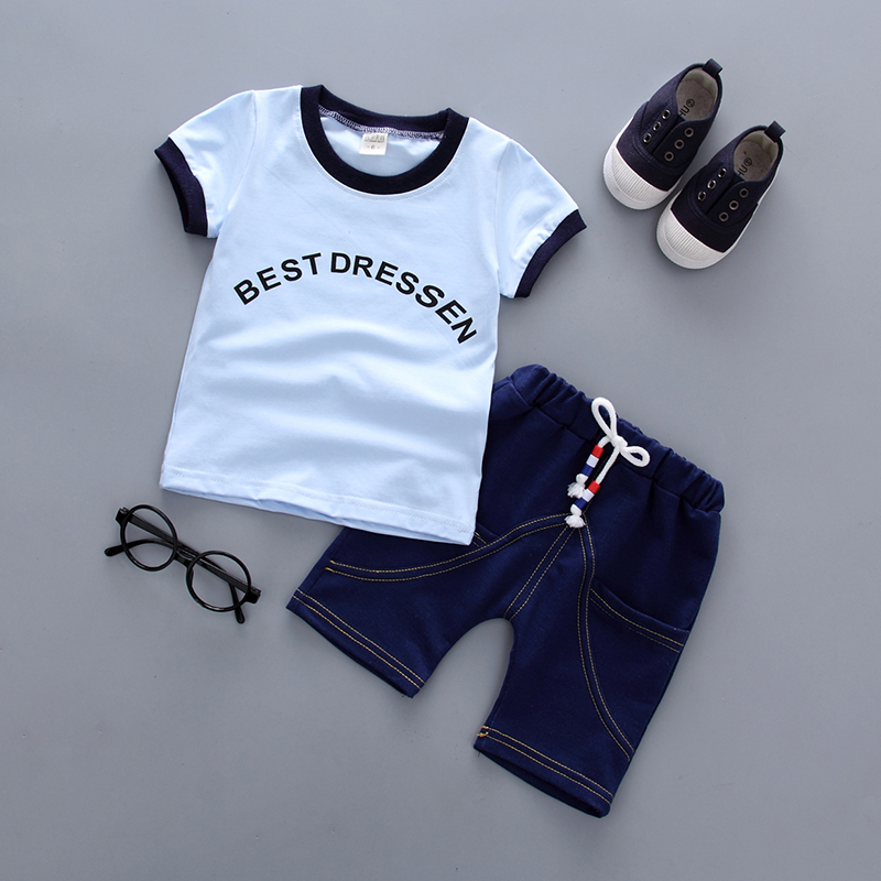Clothing for baby boy 2018 Summer New Fashion Style Cotton O-Neck Letter Print 18011 Children Clothes Boy 1-3y