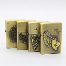Sculpture Love Wing Bronze Kerosene Lighter Gasoline Petroleum Refillable Cigarette Metal Retro Men Lighters