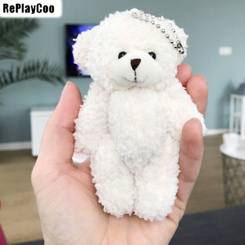 10PCS/LOT Kawaii Small Joint Teddy Bears Stuffed Plush With Chain 12CM Toy Teddy-Bear Mini Bear Ted Bears Plush Toys Gifts 02308