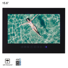 """15,"""" дюймовый IP66 светодиодный телевизор для ванной комнаты водонепроницаемый настенный водостойкий светодиодный телевизор для спа(черный/белый"""