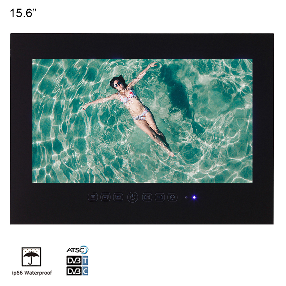 """15 6 inch IP66 Bathroom LED TV Waterproof Wall Mount Water Resistant LED TV for SPA 15.6"""" inch IP66 Bathroom LED TV Waterproof Wall Mount Water-Resistant LED TV for SPA (Black/White)"""