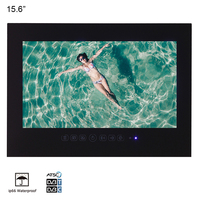 15.6 inch IP66 Bathroom LED TV Waterproof Wall Mount Water Resistant LED TV for SPA (Black/White)