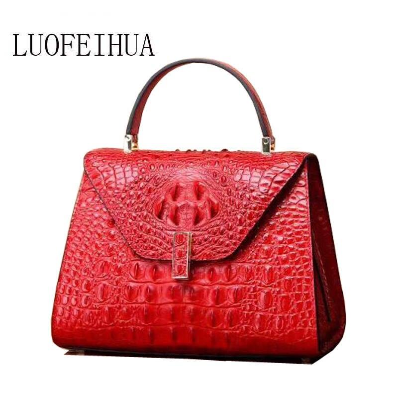 Luofeihua Taschen Handtasche Original Wildleder Damen Messenger black Leder Krokodil purple 2019 blue Tasche Neue Red Muster Designer Schulter rqIOrt