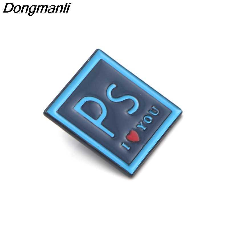 P3598 Dongmanli Photoshop ILOVEYOU del Metallo Dello Smalto Spilli e Spille per Le Donne di Modo del Risvolto Spille Zaino Borse Gioielli Distintivo Regali