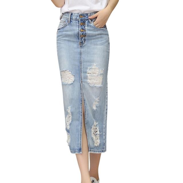920a1d721a 2018 New Denim Skirt High Waist Frayed Hole Skirts Slim Front Split Long  Skirts Women Casual Cowboy Skirts S-3XL