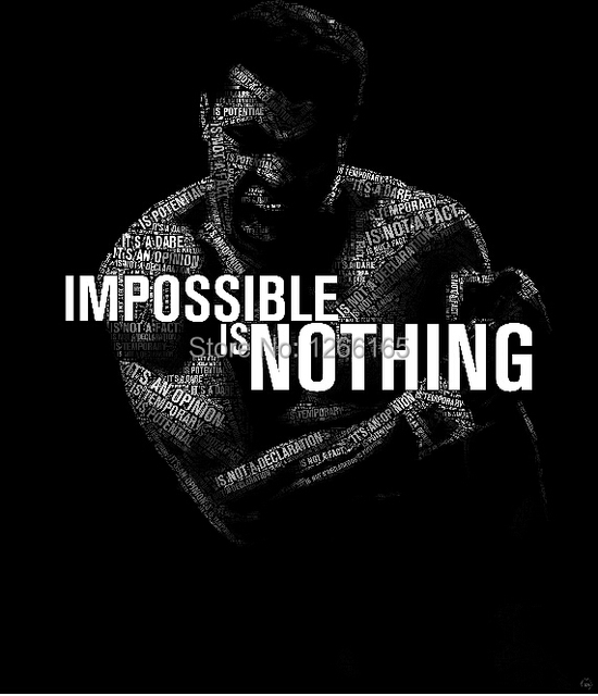 Free shipping muhammad ali inspirational silk wall poster modern home decor black and white classical boxing