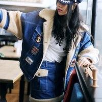 MX132 Новое поступление осень зима 2016 женская кожаная куртка конструкции толстые теплые lamdswool Лоскутная джинсовая куртка пальто женские