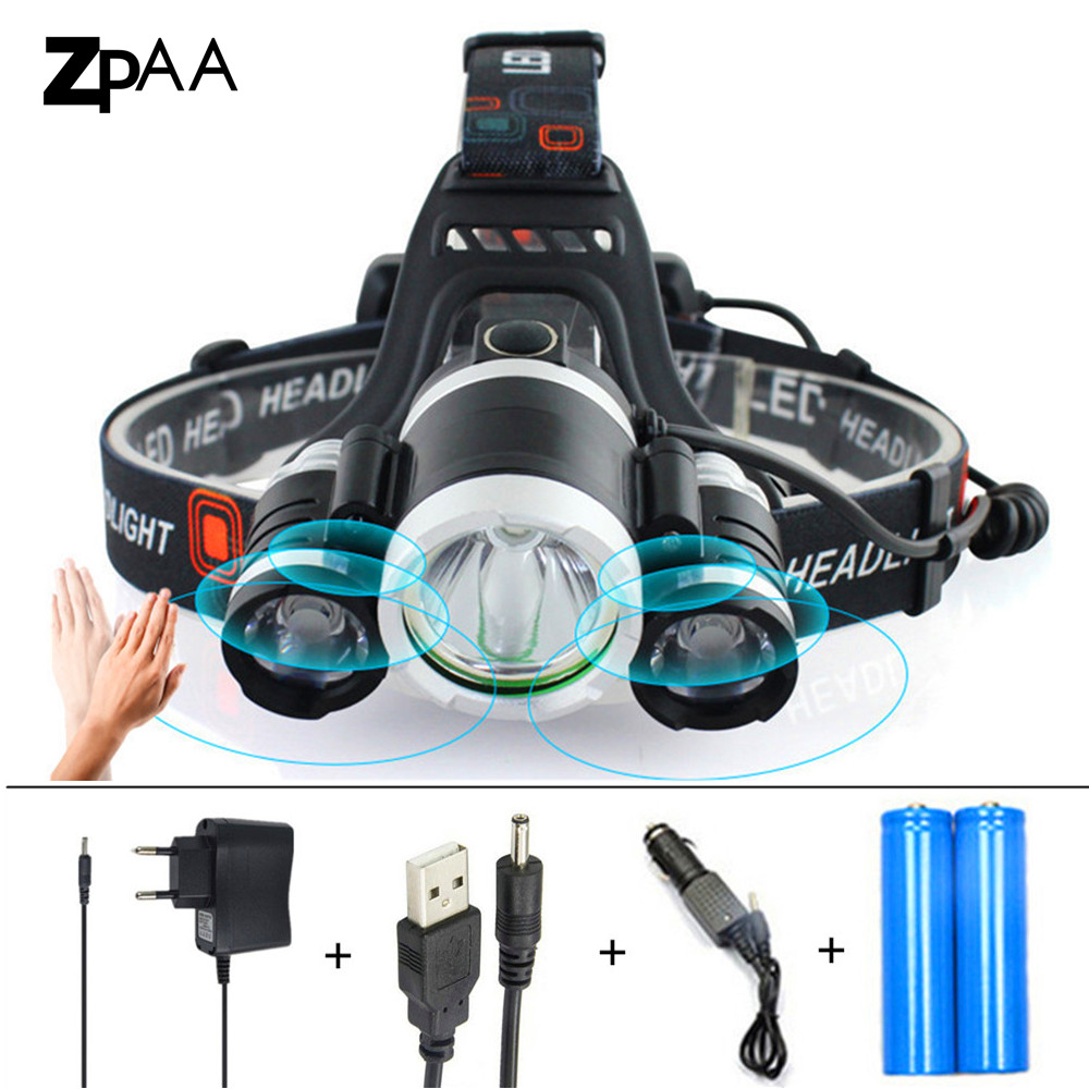 ZPAA Induction 13000Lm XML T6 LED Headlight Headlamp 18650 Rechargeable Head Lamp Light 4 mode Torch Head fishing hunting Lights head torch headlamp cree 1 xml t6 2 r5 led headlight 9000lm 4 modes head flashlight for hunting fishing led 18650 head lamp