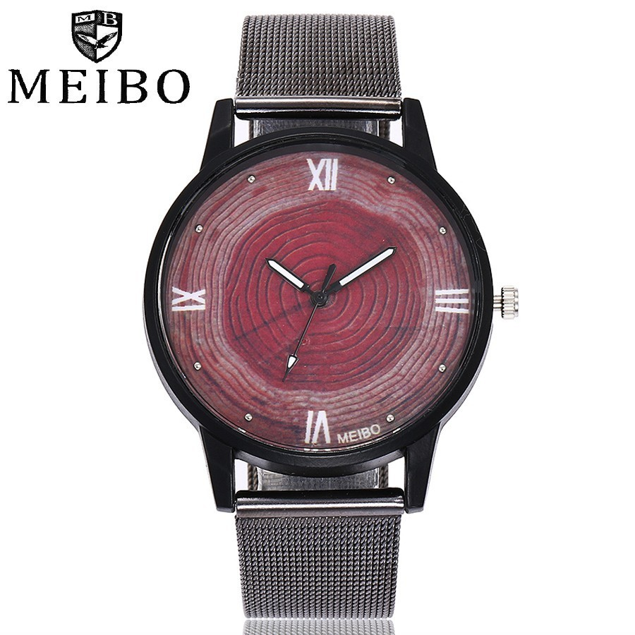 Dropshipping Women Black Mesh Wooden Dial Watch Fashion Casual Vintage Quartz Wristwatches Relogio Feminino Hot