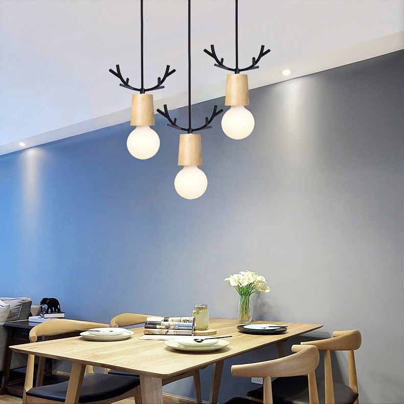 Nordic Antler Wood Pendant Lights Modern Northern American Art Decor Wrought Black Oak Pendant Lamp For Kids Dining Room Living (3)