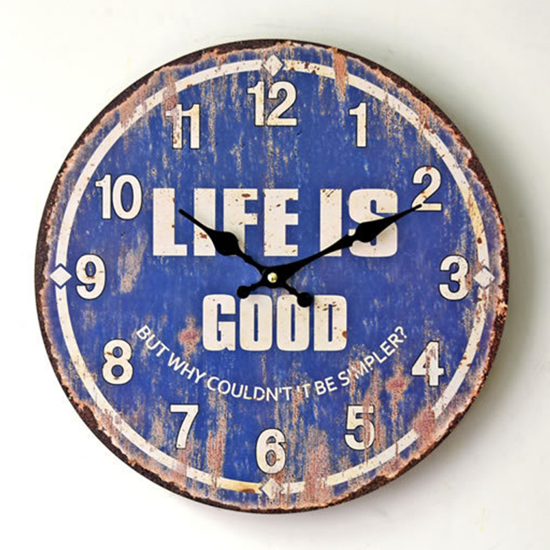 Europe Vintage Wall Clock Mute Retro Relogio Digital Parede Horloge Murale Vintage Wood Wall Clock Room Home Decoration