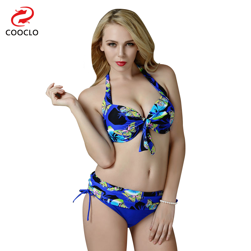 COOCLO Plus Size Vintage Floral Bathing Suit Swimsuit  Bikini Set Push Up Bikini 2019 Retro Swimwear Women Biquini Brazilian