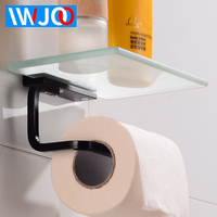 Black Toilet Paper Holder with Shelf Glass Aluminum Paper Towel Holder Rack Wall Mounted Bathroom Tissue Roll Paper Holder