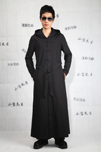 Big yards men's clothing  2017 Male ultra long paragraph outerwear cardigan novelty long-sleeve linen trench slim cardigan black