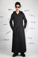 Grote werven herenkleding 2017 Mannelijke ultralange paragraaf bovenkleding vest nieuwigheid lange mouwen linnen geul slanke vest zwart