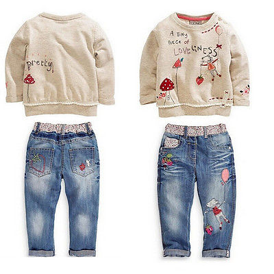 Baby Casual Girls Clothes Sets Tops Jeans Denim Pants Long Sleeve Warm 2pcs kids Cotton Outfits Spring Fall Clothes finejo baby girls kids blouse jeans pants casual clothes sets suit outfits