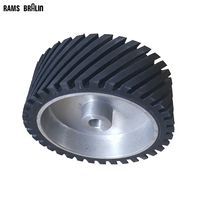 250 100 25mm Grooved Rubber Polishing Wheel Belt Sander Grinder Polisher Wheel