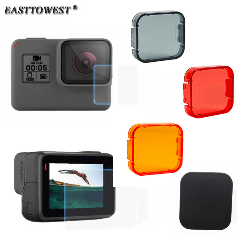 Easttowest Go Pro Hero 5 Accessories Lens + LCD Screen Protective Film +Lens Cap +Underwater Diving Filter For Go Pro Hero 5 6
