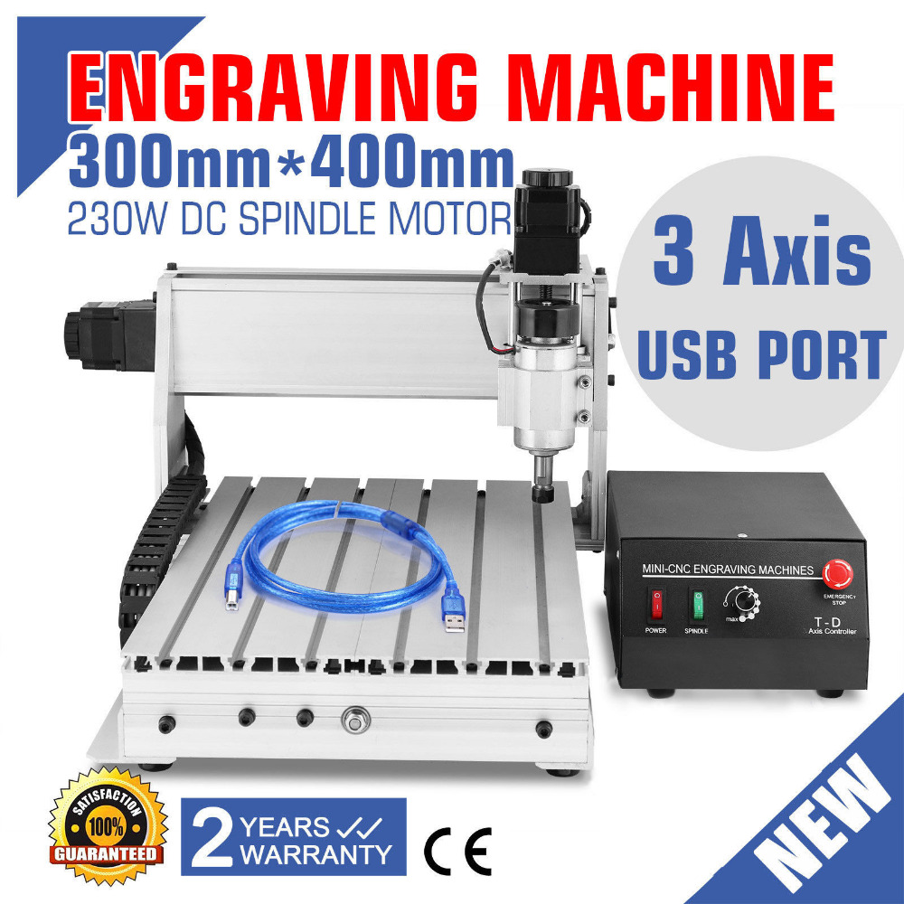 USB CNC ROUTER ENGRAVER ENGRAVING CUTTER 3 AXIS 3040T-DQ BALL SCREW USB PORT