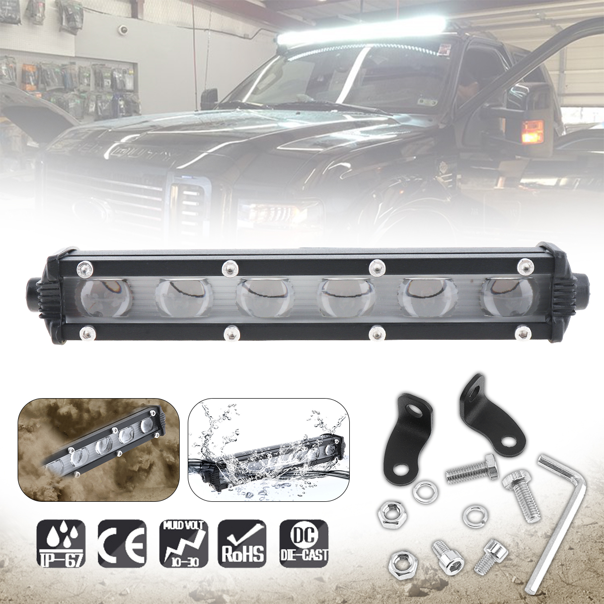 6 Inch 30W 6000LM LED Work Light Lamp for Motorcycle Tractor Boat Off Road 4WD 4x4 Truck SUV ATV