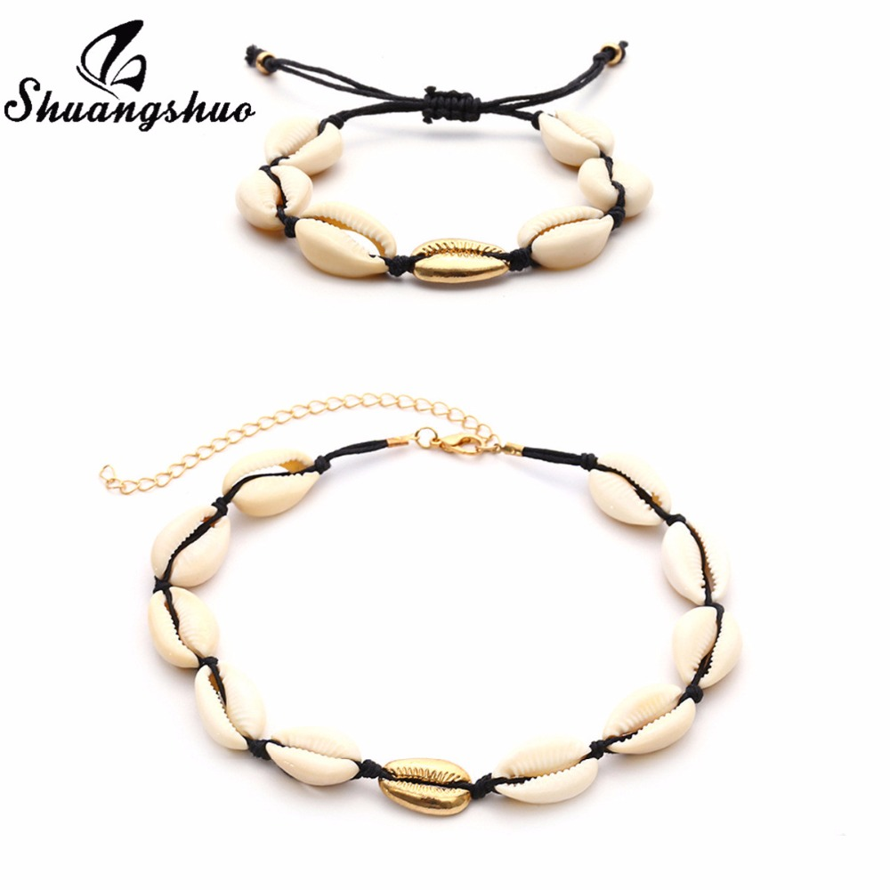 Shuangshuo Fashion Seashell Jewelry Bracelet Charm Shell Bracelets Bangles For Women Rope Chain Bracelet Best Friend Gifts in Charm Bracelets from Jewelry Accessories