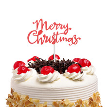 Merry Christmas Cake Topper Flags Gillter Santa Claus Kids Happy Birthday Wedding Baby Shower Party Baking DIY Decor