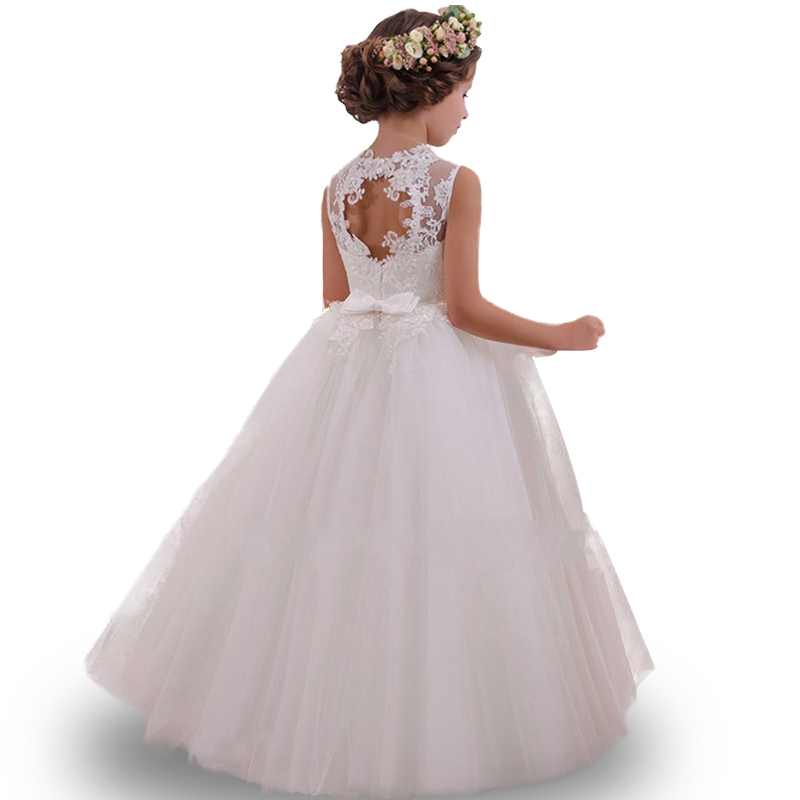 2017 Tulle Lace Infant Toddler Pageant White Flower Girl Dresses for Weddings and Party First Communion Dresses For Girls brandwen formal white dresses for girl tulle lace infant toddler pageant pearls girl dress for wedding and birthday vestidos