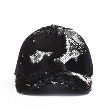 Moda caballo informal gorra de béisbol mujeres Snapback ajustable sombrero  lentejuelas Shine Hip Hop gorras para 8d7620d3cd0