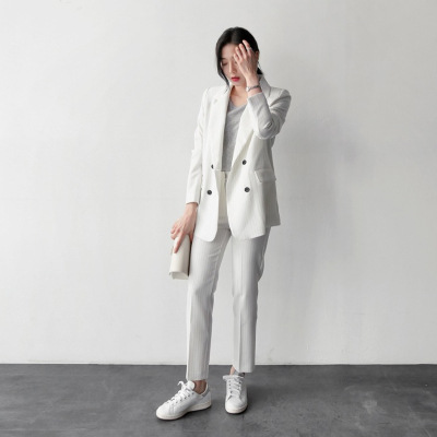 Set female 2018 spring new temperament fashion small suit wild striped long sleeve professional suit + trousers two sets