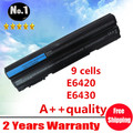 Wholesale New 9cells laptop battery FOR DELL  Audi A5 A4 S5 Inspiron 14R   E6420 Series KJ321 M5Y0X NHXVW T54FJ free shipping